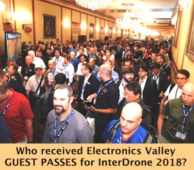 Electronics Valley presents 2 guest passes for InterDrone 2018